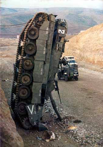 Military Tank Crashed Vertical