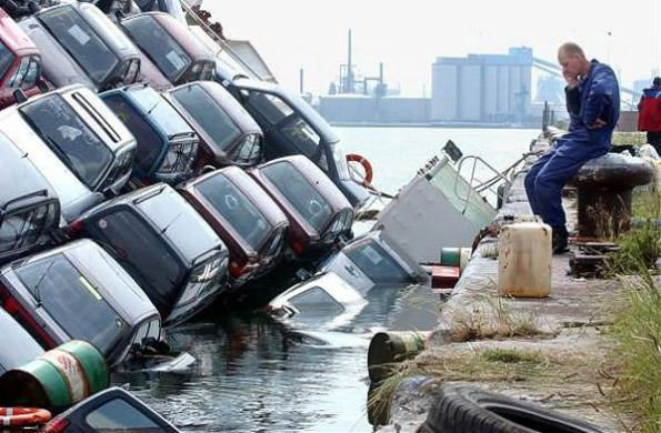 Ship Carrying Cars Capsizes