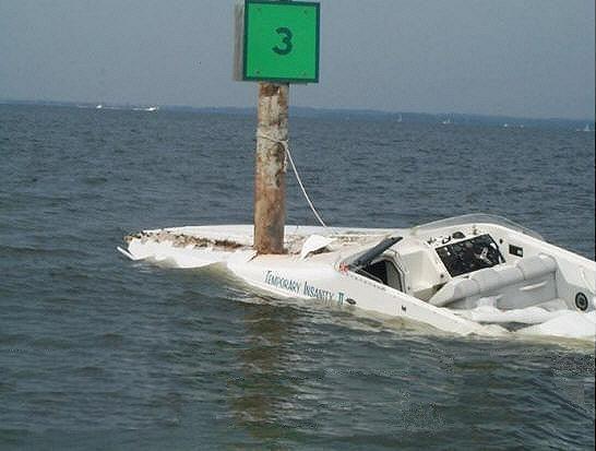 Pleasure Boat Headon with River Marker
